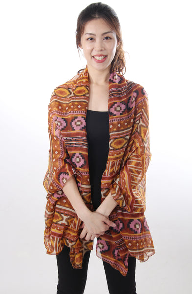 Ikat print brown shawl