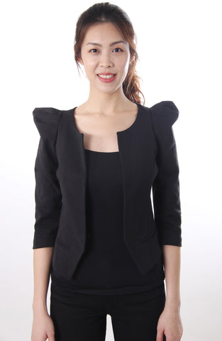 Black crop jacket with shoulder detail