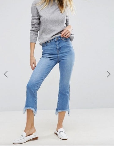 ASOS Cropped Flare Jeans in Mid Stonewash with Arched Hem