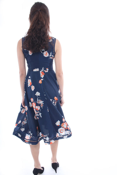 Lolly Rouge Midautumn Rustles Dress in Midnight blue