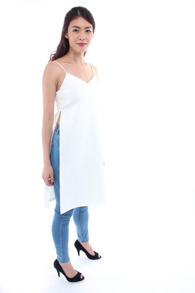 Osmose Long slit camisole in white XS
