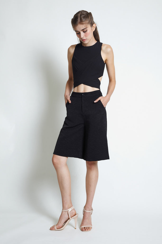 Vaingloriousyou Amity Textured Culottes in Black