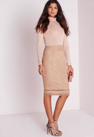 Missguided Laser Cut Hem Faux Suede Midi Skirt Taupe