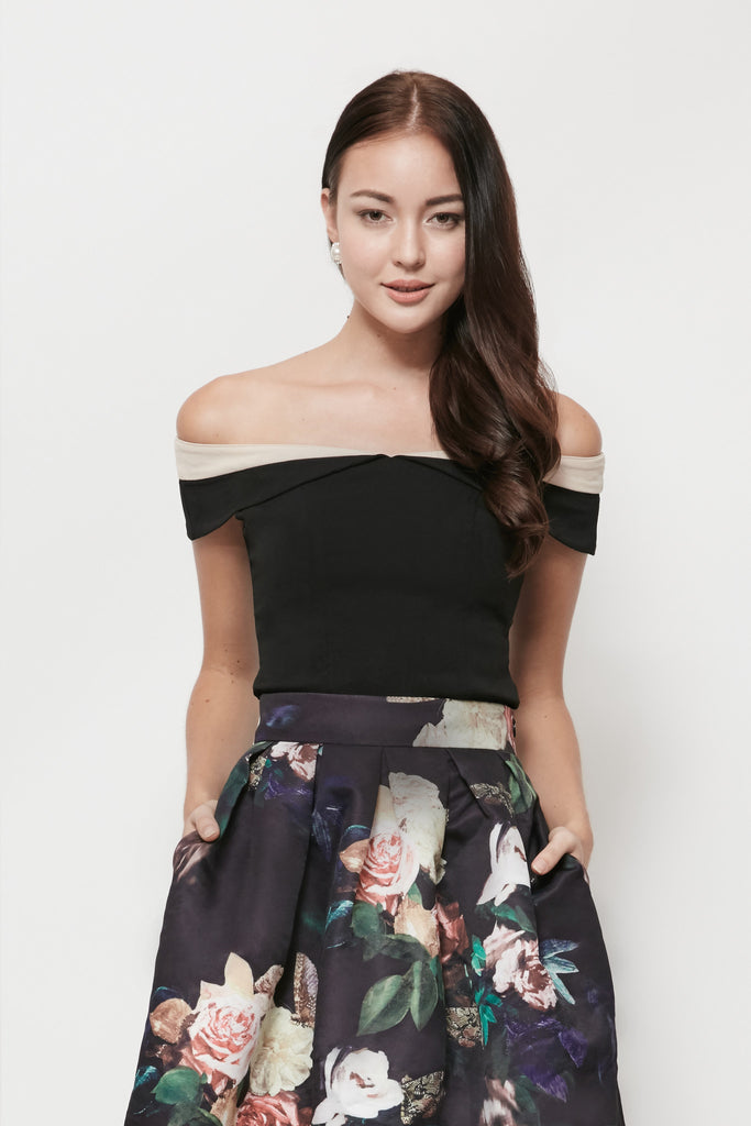 Swan By VGY Pia Off Shoulder Top  Black