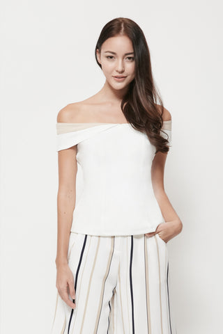 Swan By VGY Pia Off Shoulder Top White
