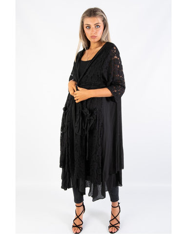 BLACK LONG EMBROIDED CARDIGAN