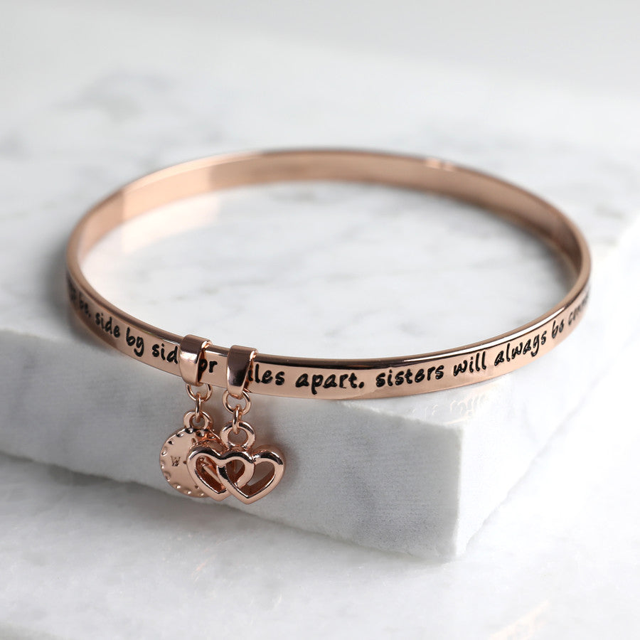'SISTERS' MEANINGFUL WORD BANGLE ROSE GOLD