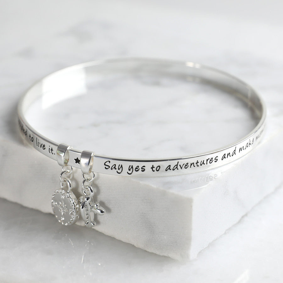 'ADVENTURE' MEANINGFUL WORD BANGLE SILVER