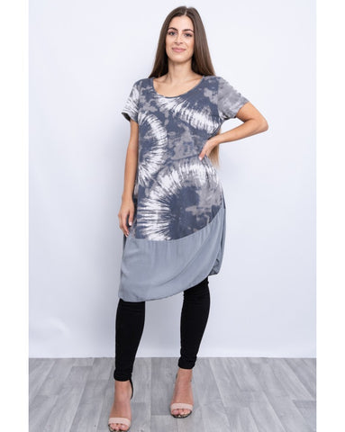 GREY LAYERED ROUND NECK PATTERNED DRESS