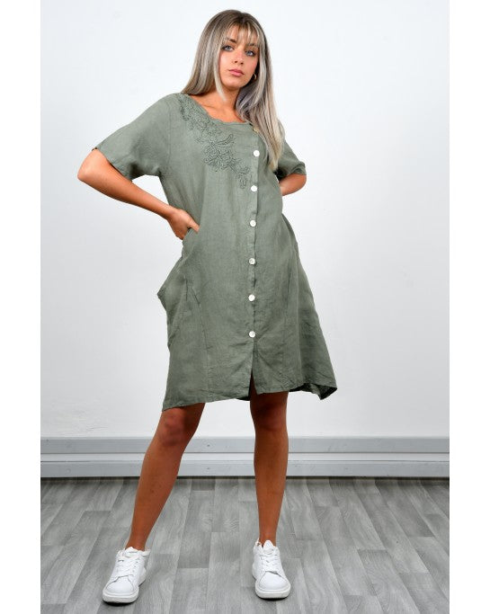 KHAKI LINEN DRESS WITH EMBROIDERY