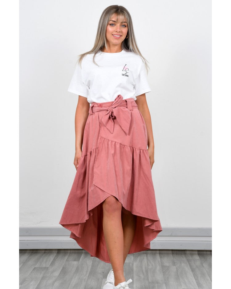SALMON SUEDE SKIRT