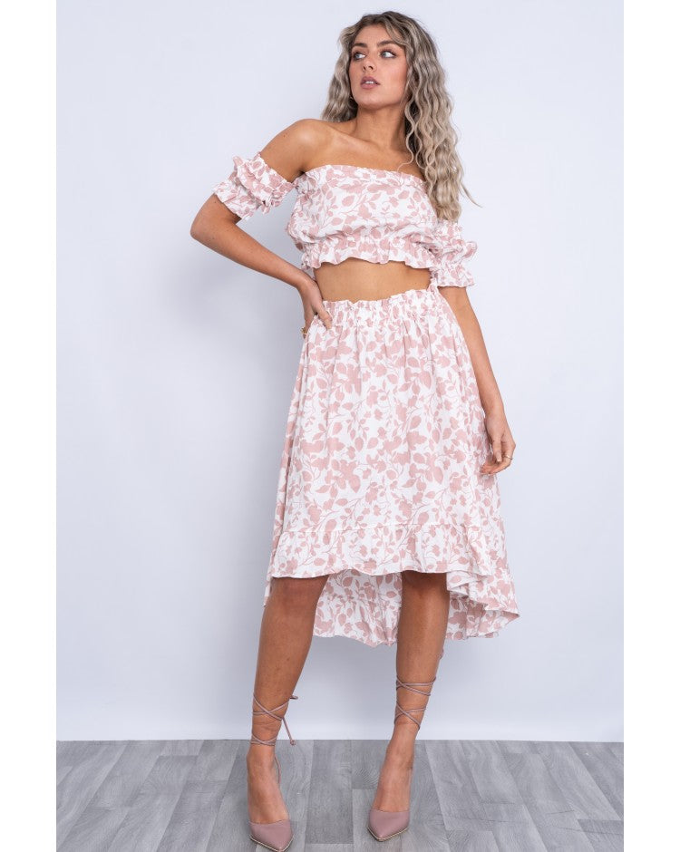 PINK COTTON FLORAL CROP TOP AND SKIRT SET