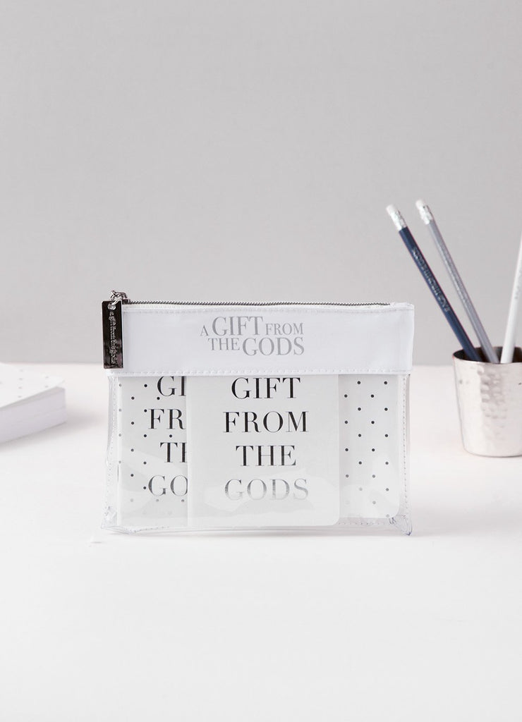 A GIFT FROM THE GODS SLOGAN WHITE CLEAR POUCH