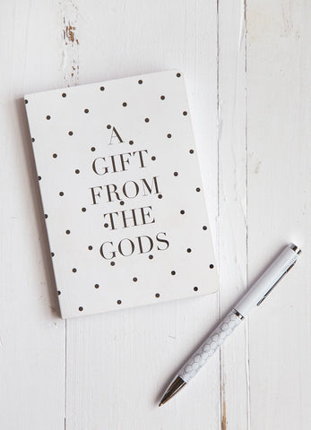A GIFT FROM THE GODS POLKA DOT WHITE A6 NOTEBOOK