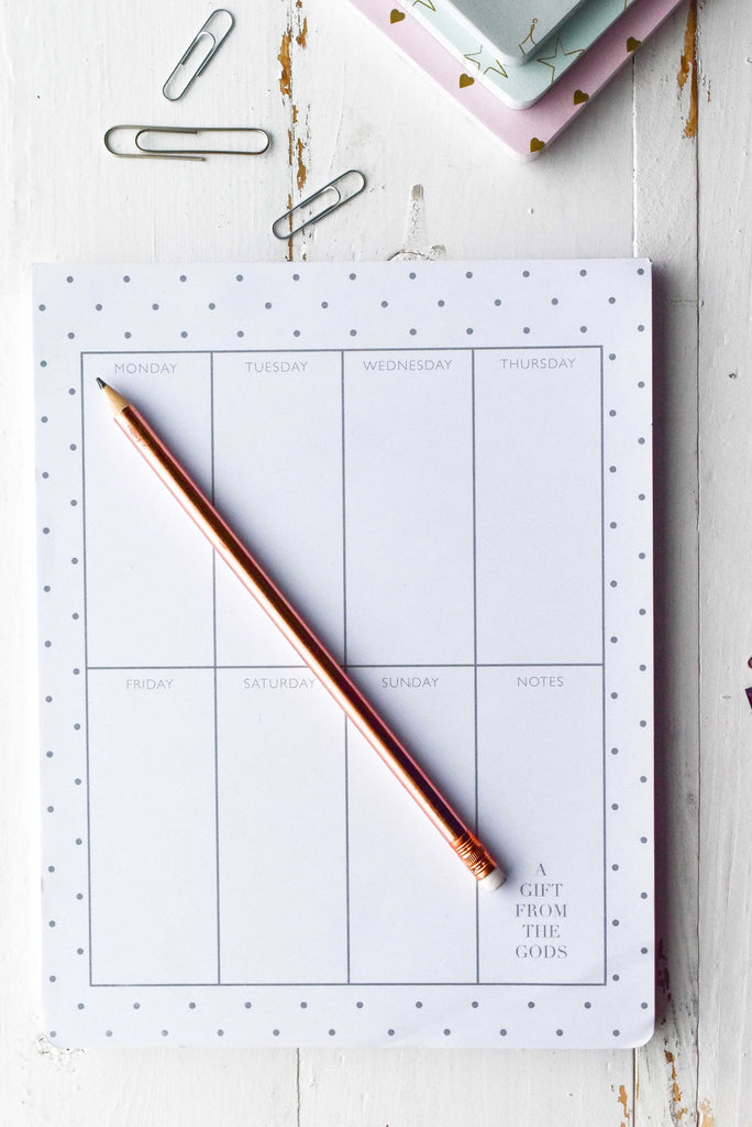 A GIFT FROM THE GODS POLKA DOT WHITE WEEKLY PLANNER