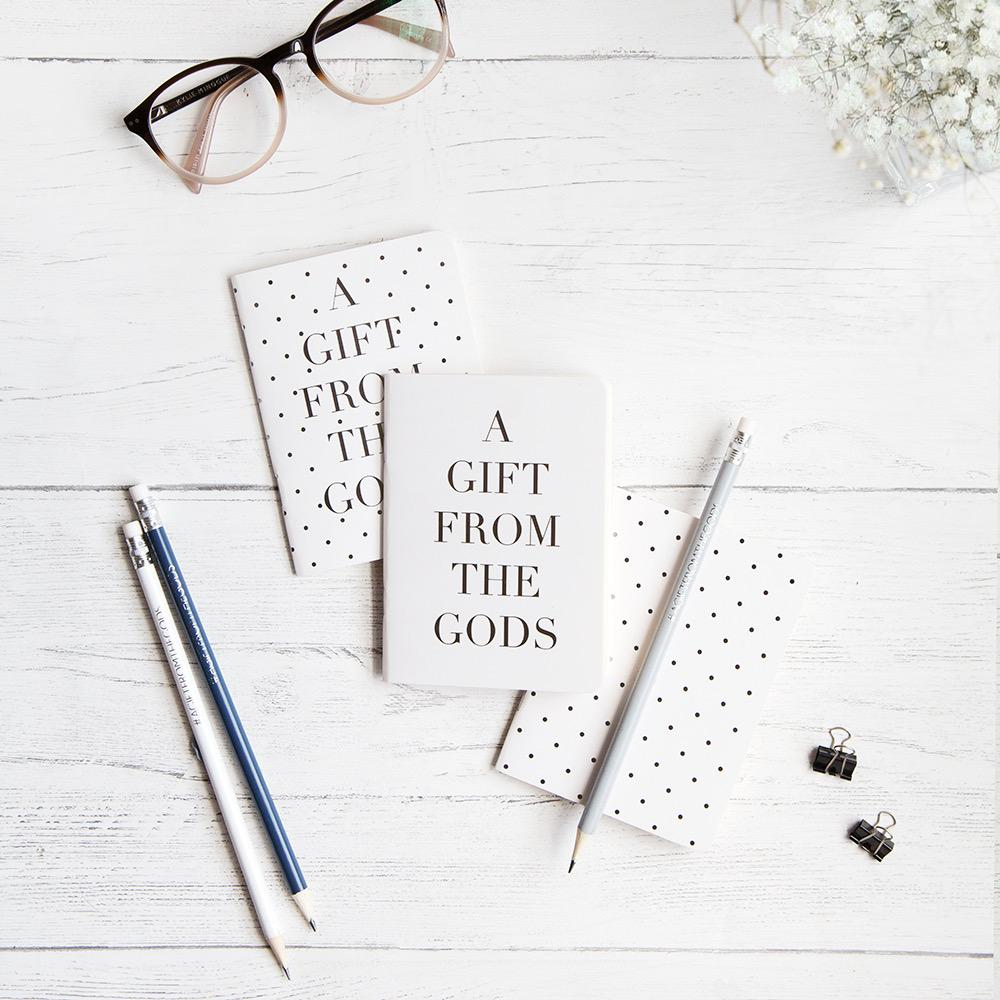 A GIFT FROM THE GODS POLKA DOT WHITE SET OF 3 MINI NOTEBOOKS