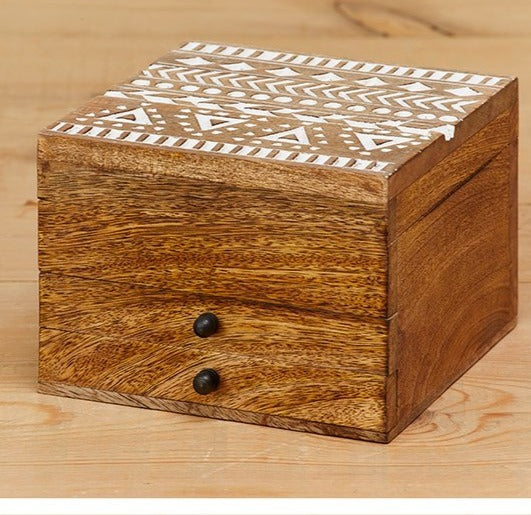 AZTEC DESIGN CARVED JEWELLERY BOX