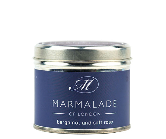 BERGAMOT AND SOFT ROSE TIN CANDLE BY MARMALADE