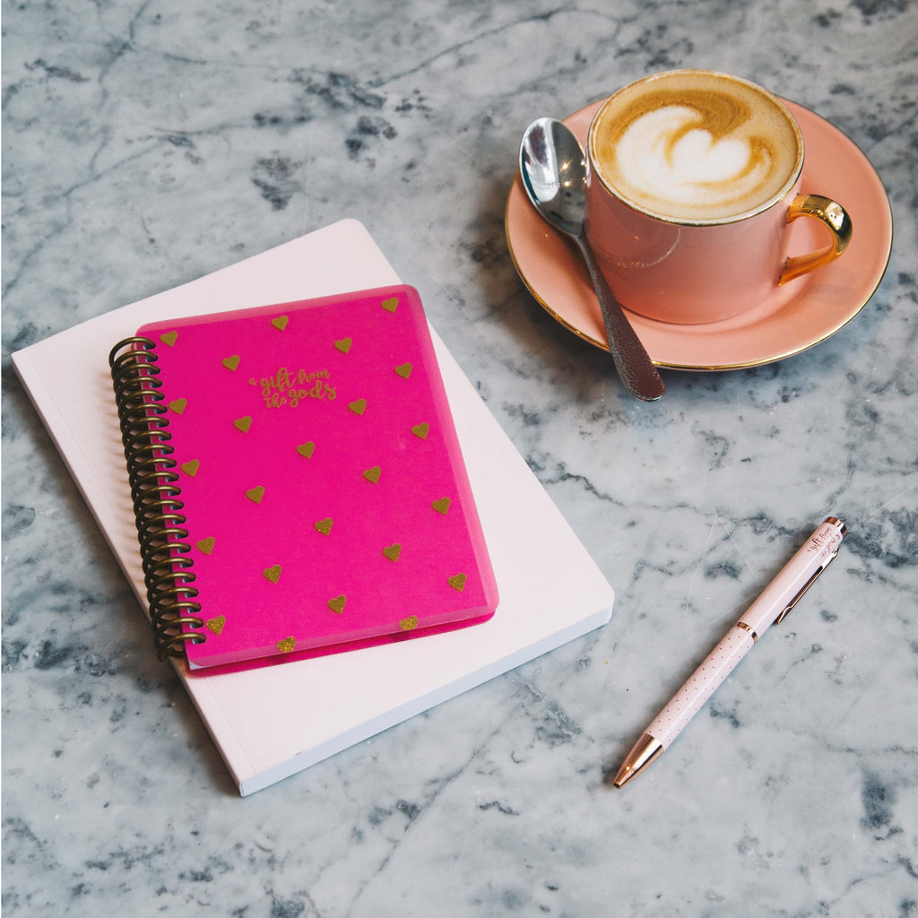 A GIFT FROM THE GODS GOLD HEARTS HOT PINK A6 SPIRAL NOTEBOOK