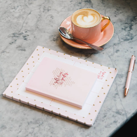 A GIFT FROM THE GODS GOLD HEART PINK A6 NOTEBOOK
