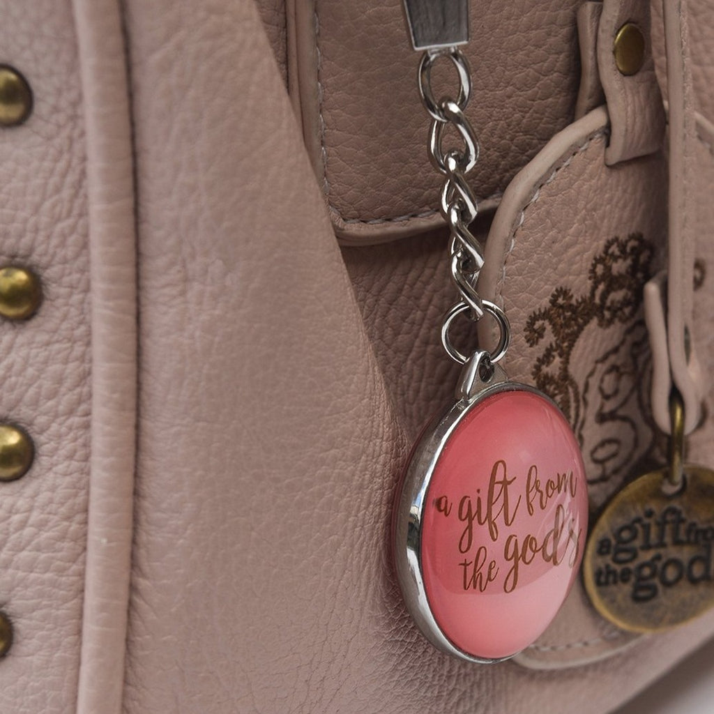 A GIFT FROM THE GODS PINK SLOGAN KEYRING