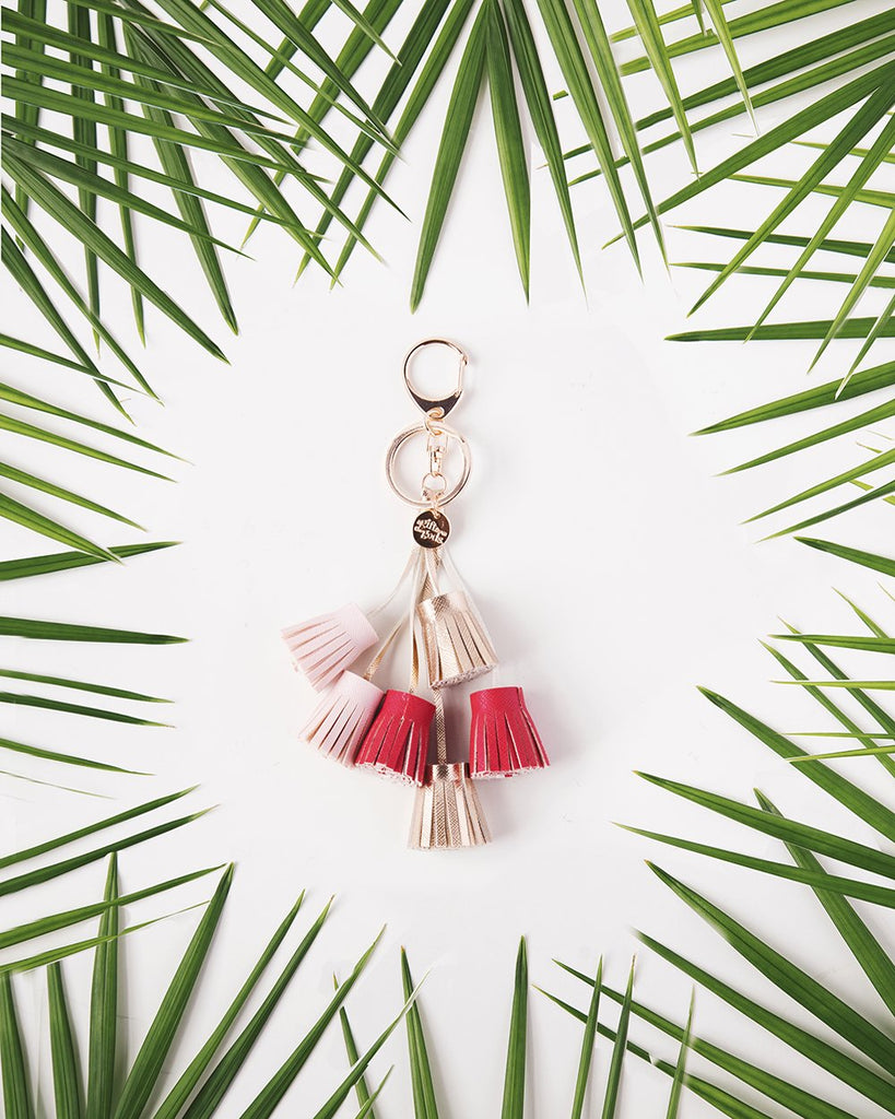 A GIFT FROM THE GODS PINK TASSELS KEYRING