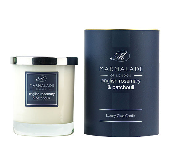ENGLISH ROSEMARY AND PATCHOULI LARGE GLASS CANDLE BY MARMALADE