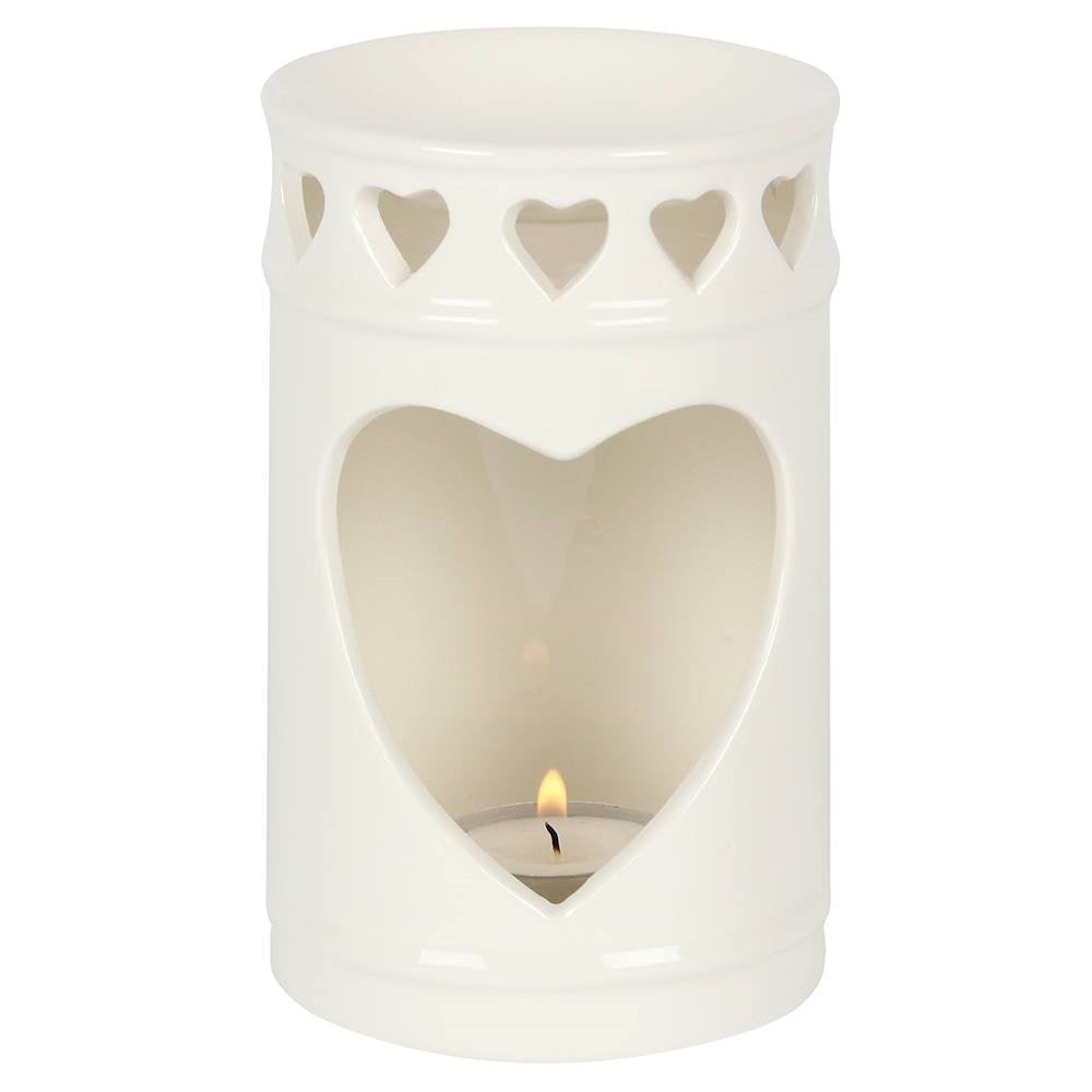 WHITE CUTOUT HEART OIL BURNER 14CM
