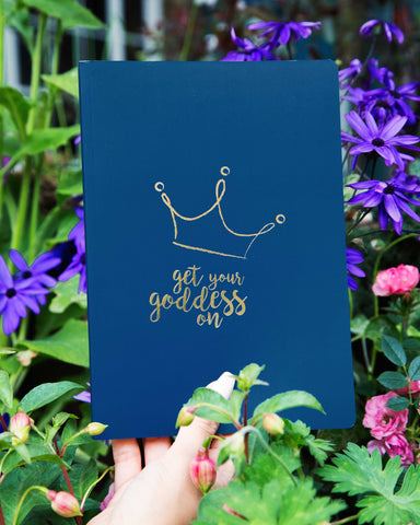 A GIFT FROM THE GODS GET YOUR GODDESS ON CROWN BLUE A5 NOTEBOOK