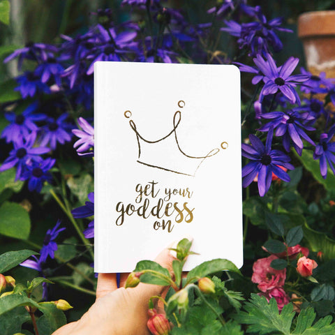 A GIFT FROM THE GODS GET YOUR GODDESS ON CROWN WHITE A6 NOTEBOOK