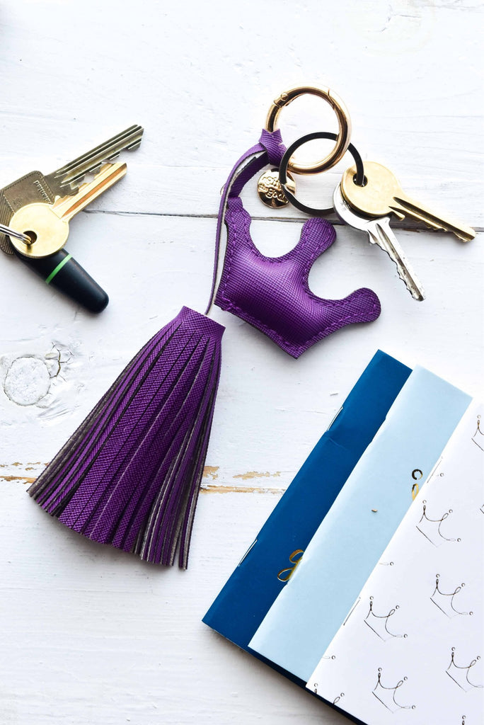 A GIFT FROM THE GODS GET YOUR GODDESS ON PURPLE CROWN TASSEL KEYRING