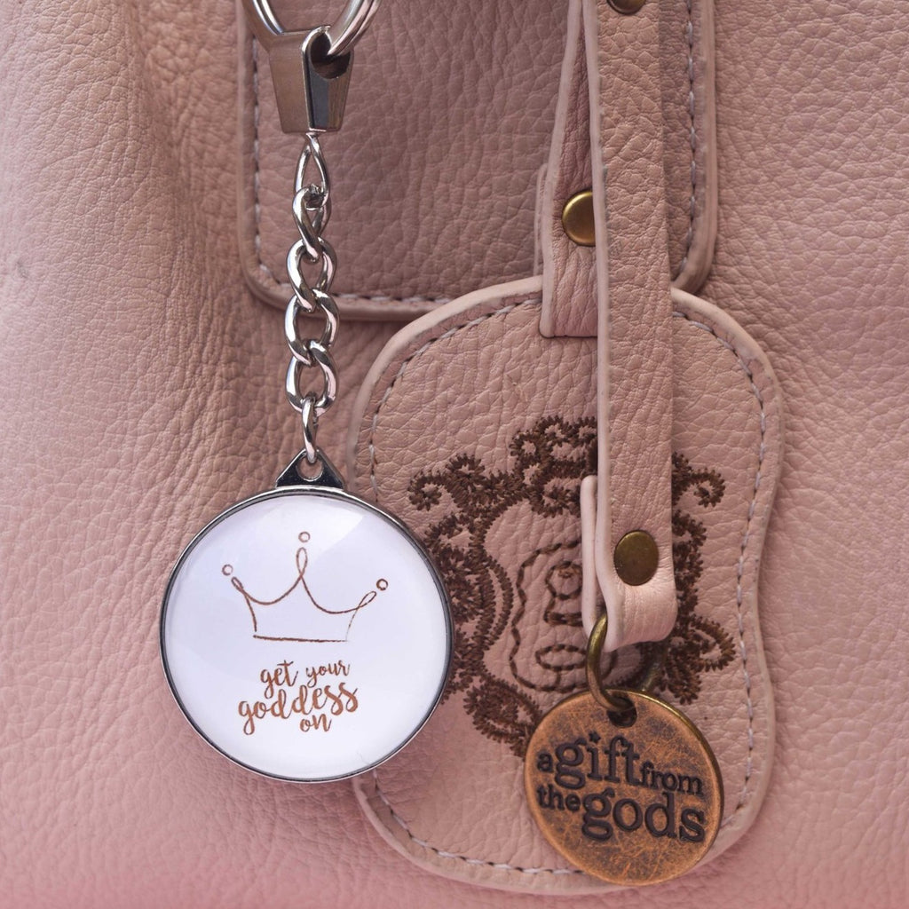A GIFT FROM THE GODS GET YOUR GODDESS ON WHITE ROUND KEYRING