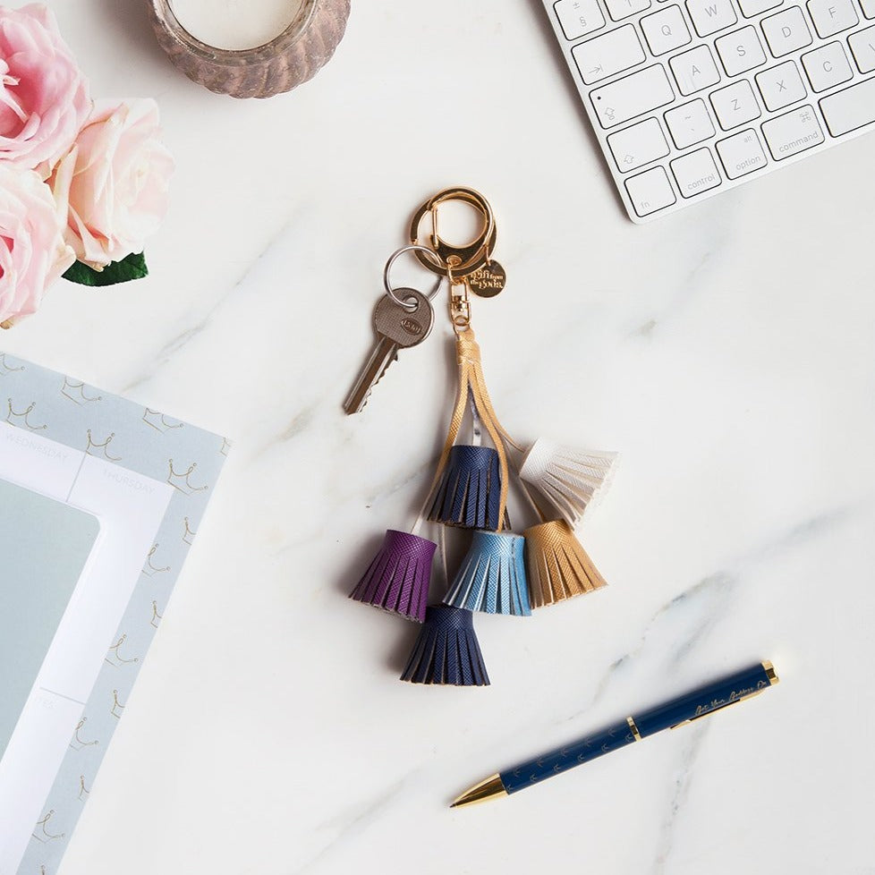 A GIFT FROM THE GODS GET YOUR GODDESS ON BLUE AND PURPLE TASSELS KEYRING