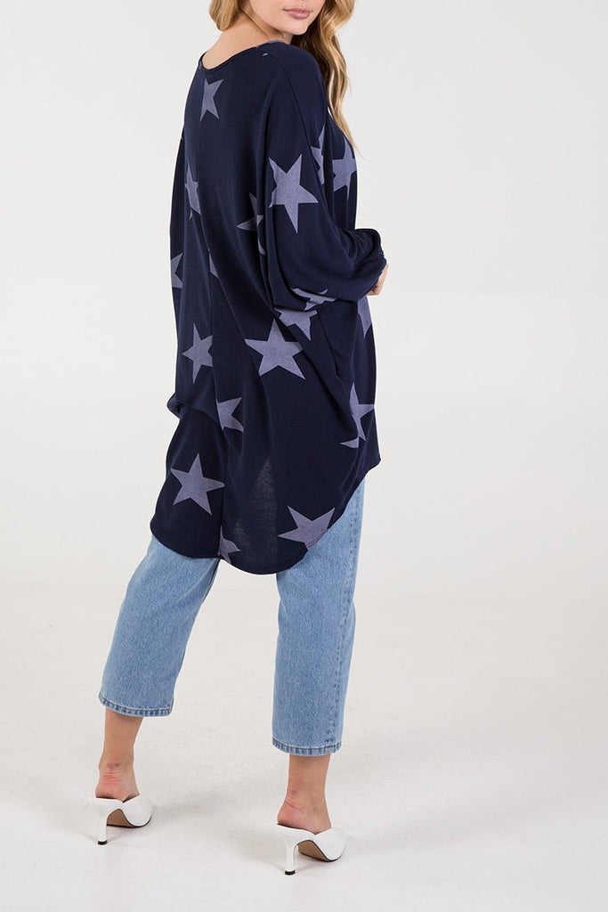 NAVY STAR LONG SLEEVED OVERSIZED TOP