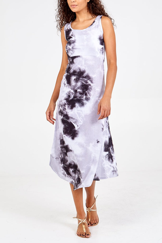 BLACK TIE DYE SLIT DRESS