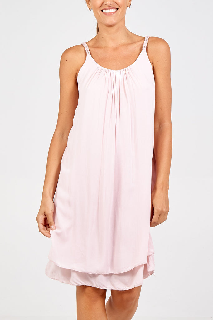 PINK FLOATY ROPE STRAP DRESS
