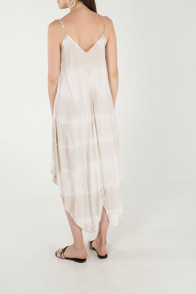 BEIGE TIE DYE STRAPPY DRESS