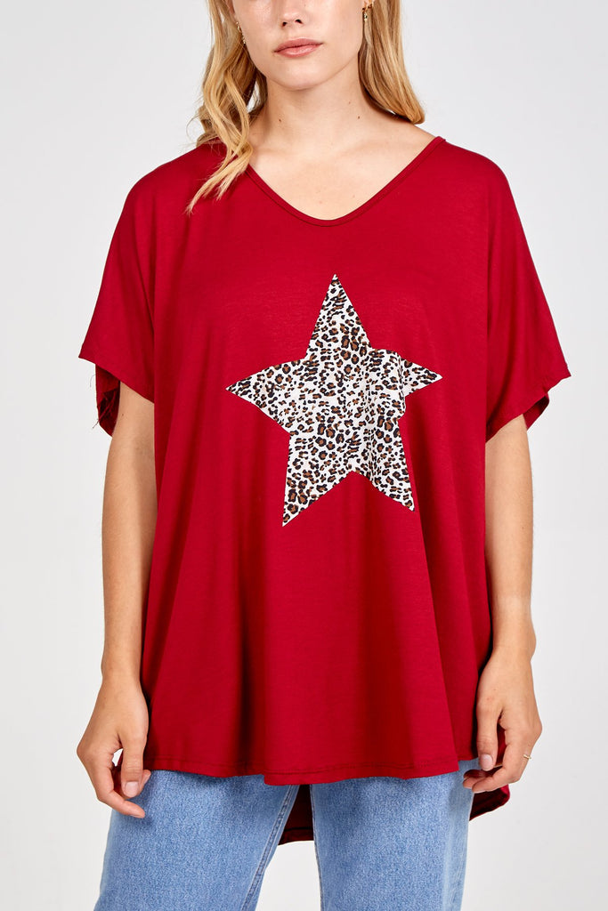 RED LEOPARD STAR OVERSIZED TOP