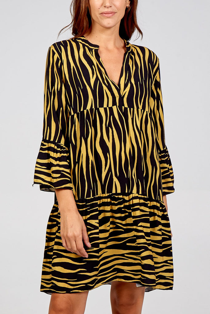 YELLOW ANIMAL PRINT SMOCK DRESS