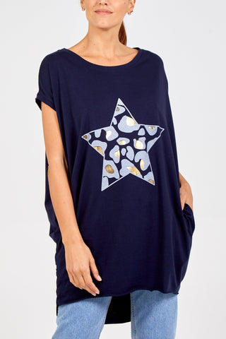 NAVY LEOPARD STAR TWO POCKET OVERSIZED TOP