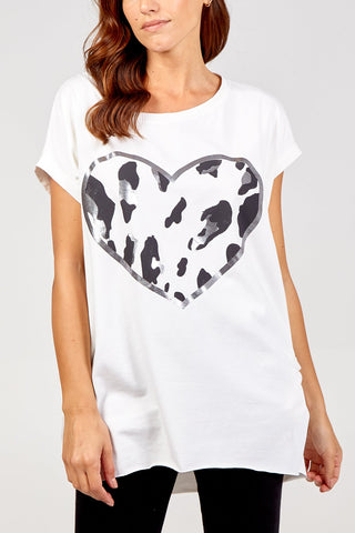 WHITE OVERSIZED LEOPARD PRINT HEART TOP