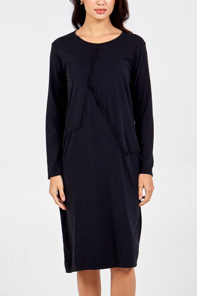 BLACK BURST SEAM LONG SLEEVE MIDI DRESS