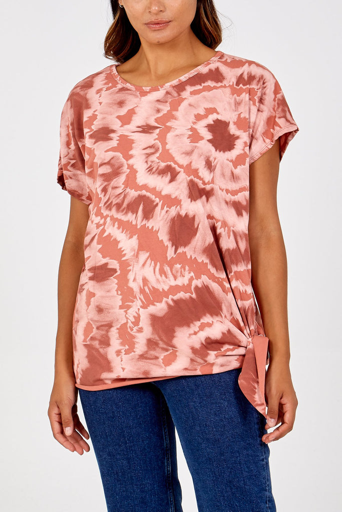 RUST TIE BOTTOM TIE DYE T-SHIRT