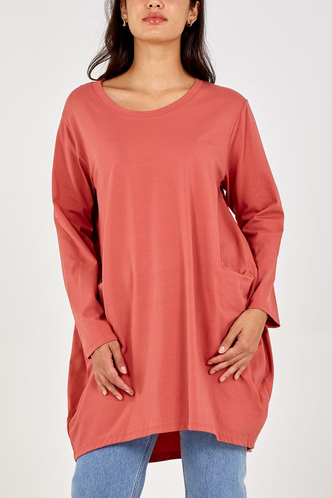 SALMON TWO POCKET LONG SLEEVE DRESS