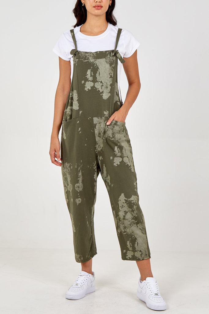 KHAKI TIE DYE DUNGAREES WITH POCKETS