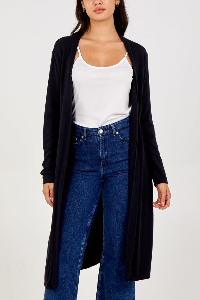 BLACK BUTTON FRONT LONG CARDIGAN