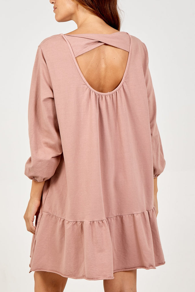LIGHT PINK SCOOP BACK FRILL HEM DRESS