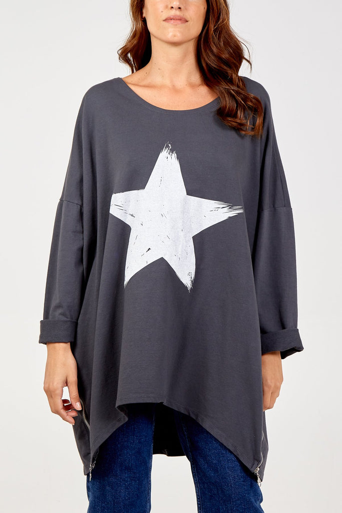 CHARCOAL OVERSIZED ZIP DETAIL STAR JUMPER