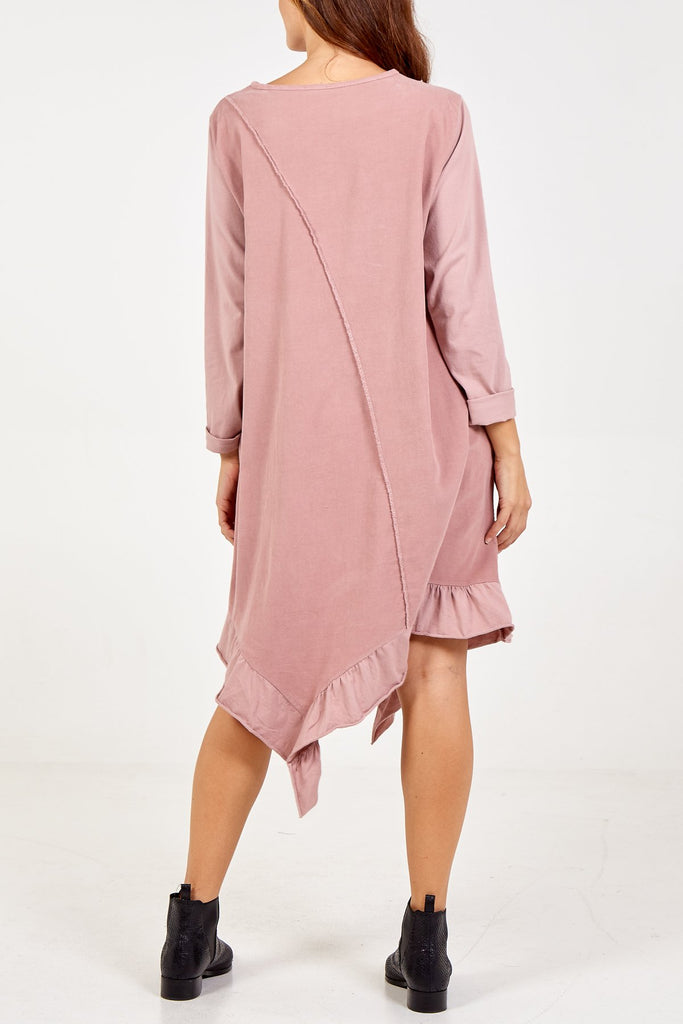 BLUSH LONG SLEEVE FRILL DRESS