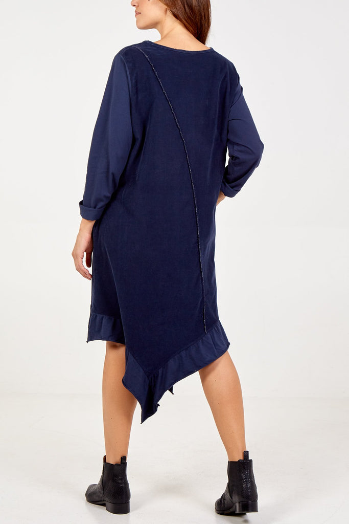 NAVY LONG SLEEVE FRILL DRESS